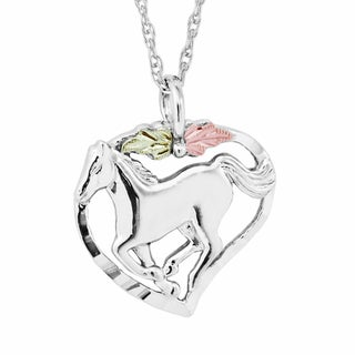 Black Hills Gold on Silver Horse Pendant