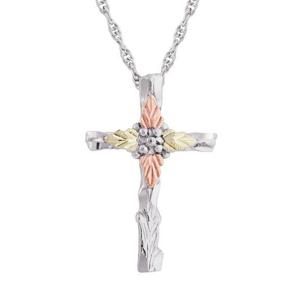 Black Hills Gold over Silver Cross Pendant