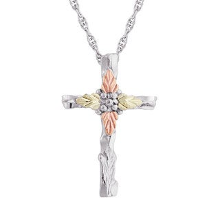 Black Hills Gold over Silver Cross Pendant