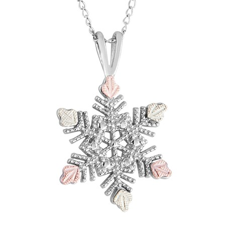 Black Hills Gold on Silver Snowflake Pendant