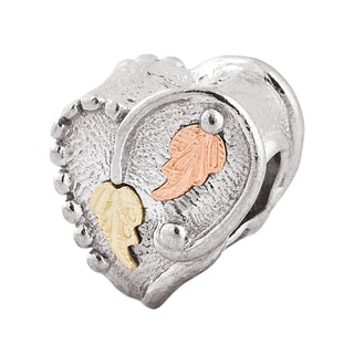 Black Hills 12k Tri-color Gold over Silver Heart Bead Charm