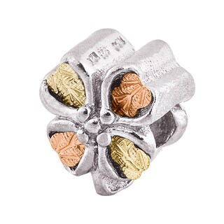 Black Hills 12k Tri-color Gold over Silver Clover Charm Bead