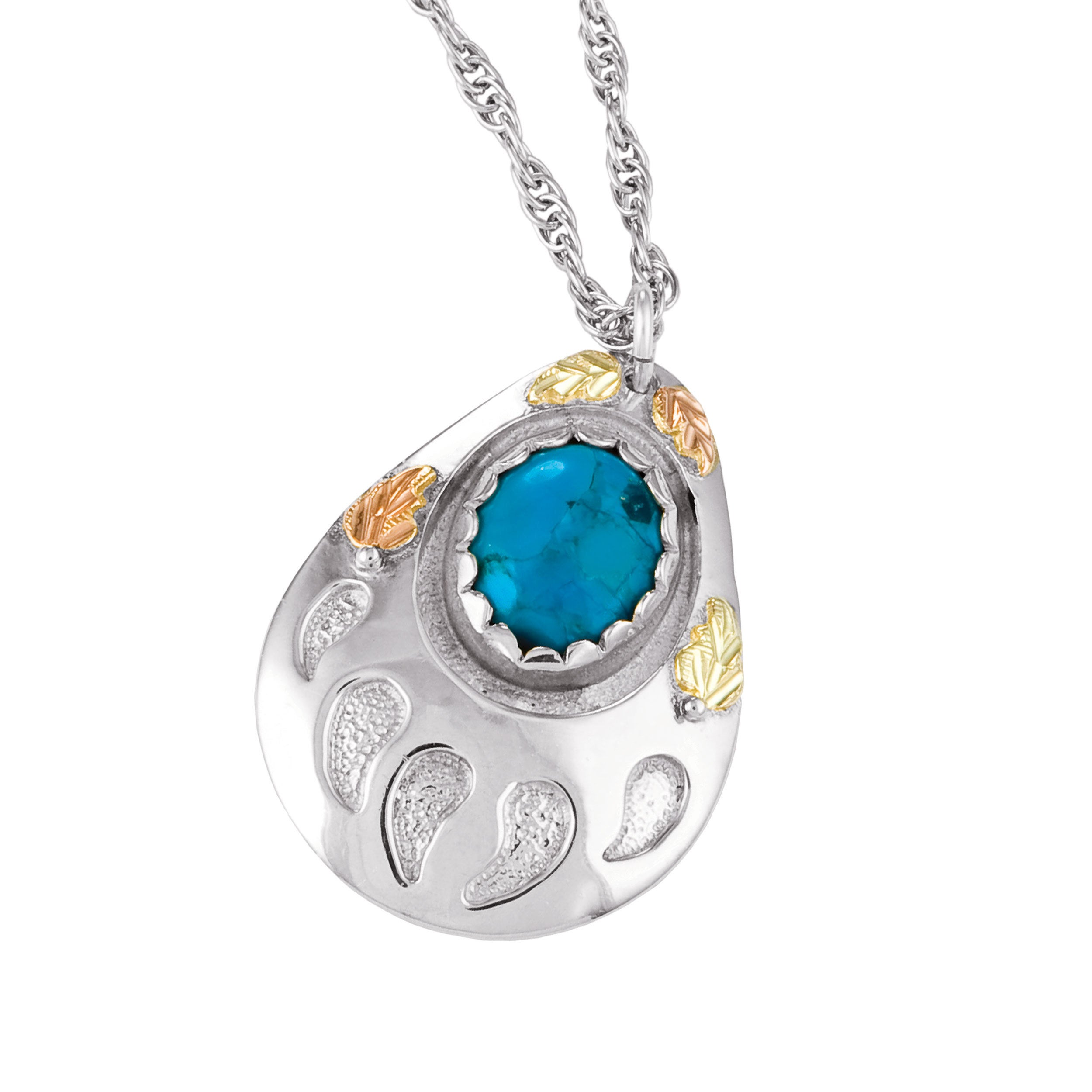 Black Hills Gold on Silver Turquoise Pendant (Silver), Ad...