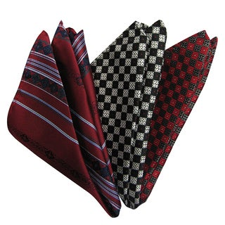 Dmitry Men's Burgundy/ Grey/ Red Italian Silk Pocket Squares (Pack of 3)