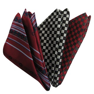 Dmitry Men's Burgundy/ Grey/ Red Italian Silk Pocket Squares (Pack of 3)