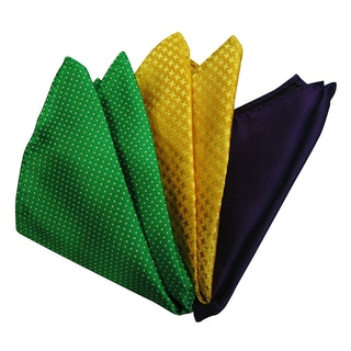 Dmitry Men's Green/ Yellow/ Purple Italian Silk Pocket Squares (Pack of 3)