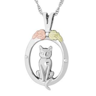 Black HIlls Gold on Silver Framed Cat Pendant