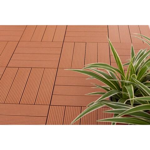 MetaWood Deck Tiles, Composite Teak, Snap To Install, No Maintenance (Box of 11 sqft)