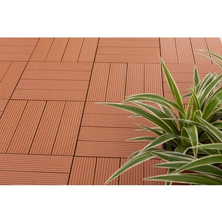 MetaWood Deck Tiles, Composite Teak, Snap To Install, No Maintenance (Box of 11 sqft)