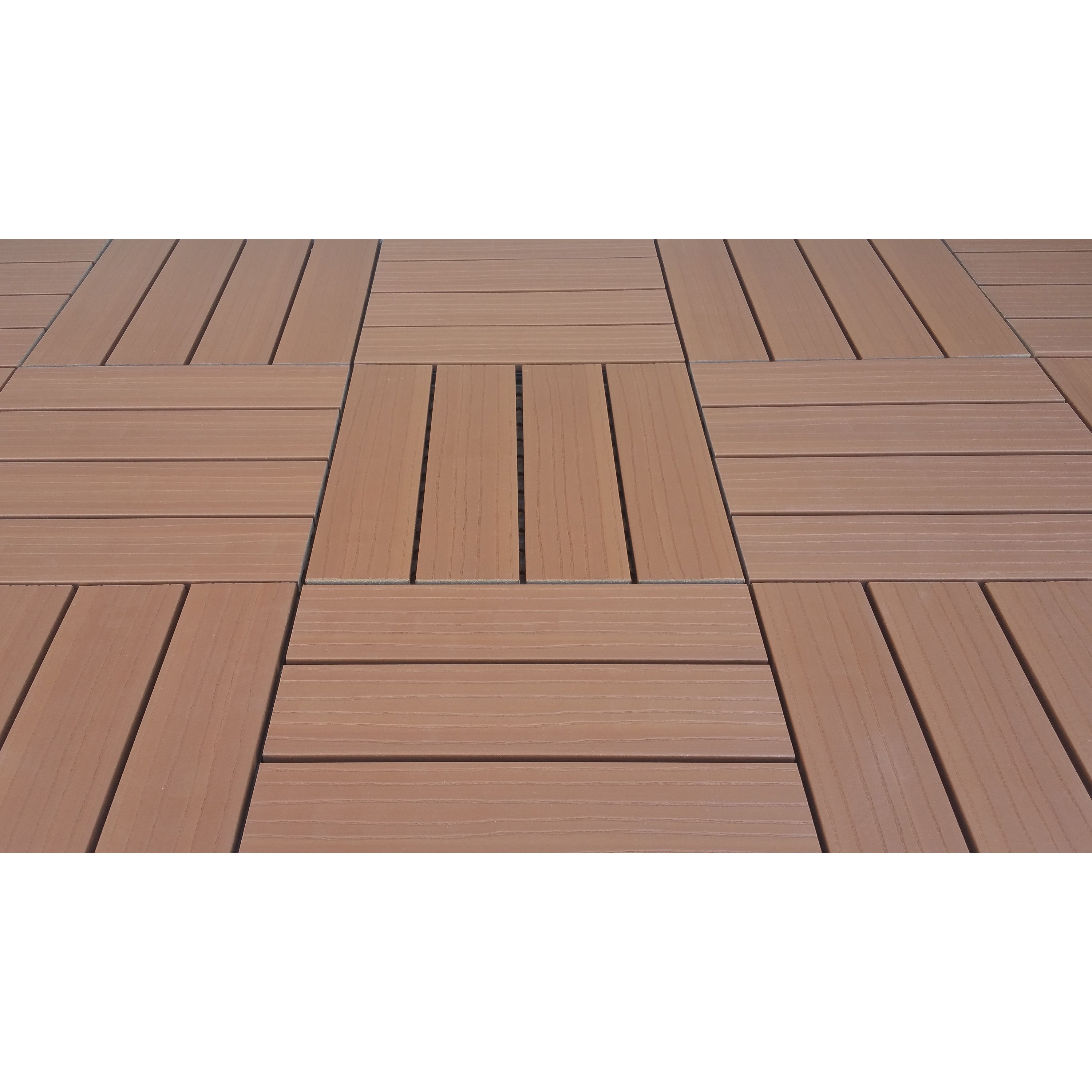 Vifah SuperWood Deck Tiles, Composite Cedar, Snap To Inst...