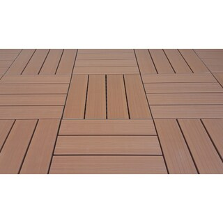 SuperWood Deck Tiles, Composite Cedar, Snap To Install, No Maintenance (Box of 11 sqft)