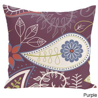 Paisley Floral Print Outdoor 18-inch Pillow (Option: Purple)