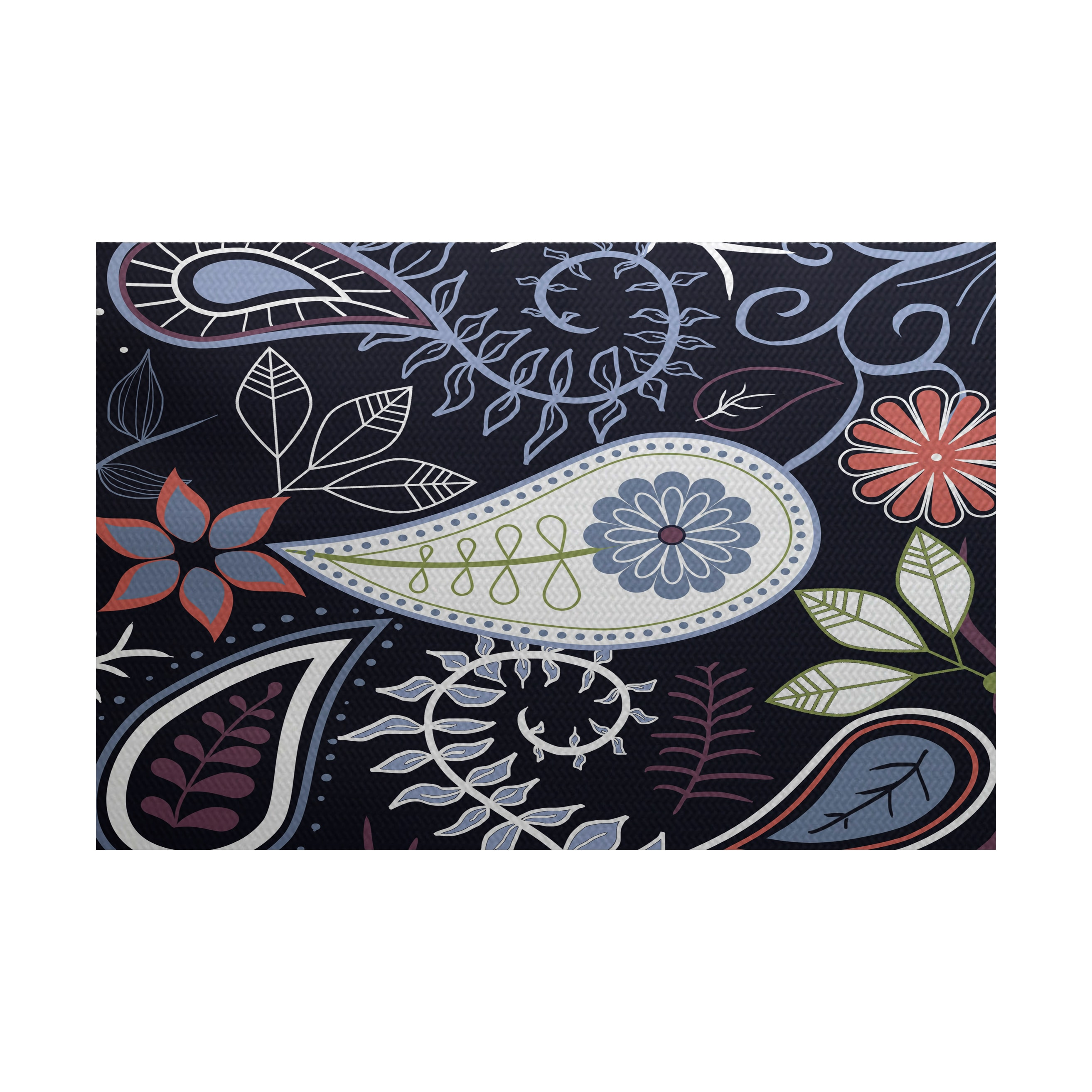 E By Design Paisley Floral Print Rug (2' x 3') (Teal), Bl...