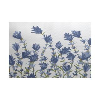 Lavender Floral Print Rug (5' x 7')