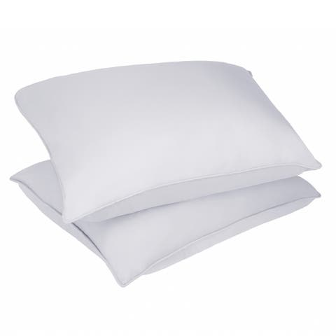 Nanofibre Microfiber Stain and Water Resistant White Bed Pillow (Set of 2)
