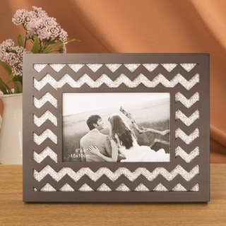 Laser Cut Wave Design Frame with Silver Glitter