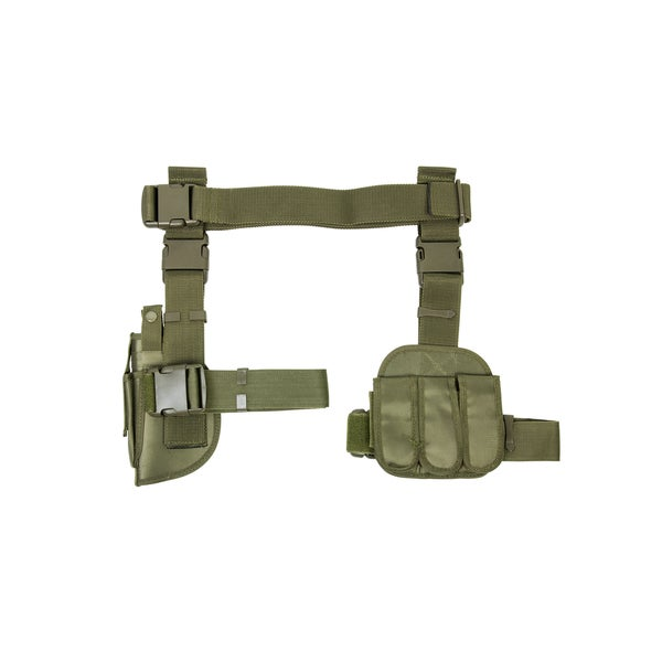 NcStar 3 Piece Drop Leg Holster/Mag Holder Green