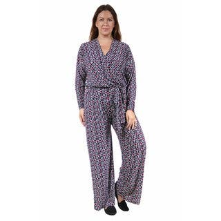 24/7 Comfort Apparel Women's Plus Size Deep V-neck Abstract Printed Jumpsuit (Option: 3x)|https://ak1.ostkcdn.com/images/products/10759149/P17812029.jpg?impolicy=medium
