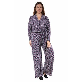 24/7 Comfort Apparel Women's Plus Size Deep V-neck Abstract Printed Jumpsuit