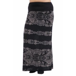 24/7 Comfort Apparel Women's Plus Size Fall Paisley Printed Fold Over Maxi Skirt