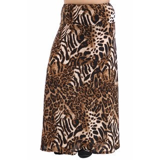 24/7 Comfort Apparel Women's Plus Size Chocolate Polka-Dot Printed Maxi Skirt
