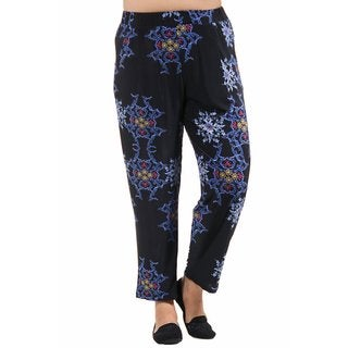 24/7 Comfort Apparel Women's Plus Size Blueandblack Fall Floral Printed Pants