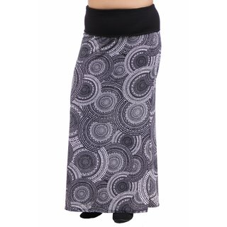 24/7 Comfort Apparel Women's Plus Size Blackandwhite Oriental Printed Fold Over Maxi Skirt (Option: 2x)