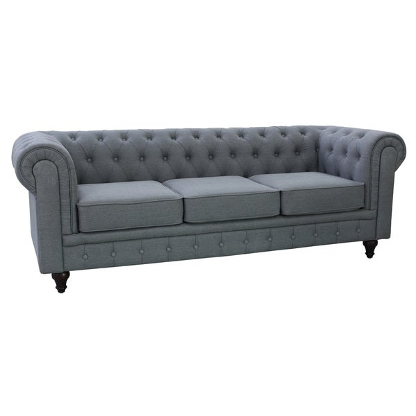 grace grey linen fabric chesterfield sofa free shipping