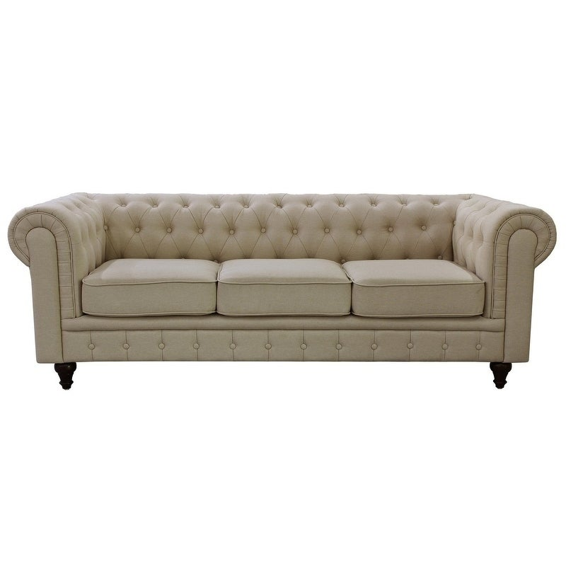 Grey Linen Fabric Chesterfield Sofa