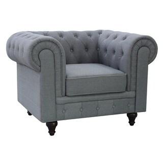 Grace Grey Linen Fabric Chesterfield Chair