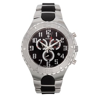 Croton Men's Stainless Steel Black Chronograph Watch - Silver