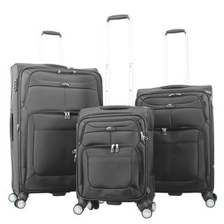 Gabbiano Barcelona Ballistic Nylon 3-piece Black Expandable Softside Spinner Luggage Set