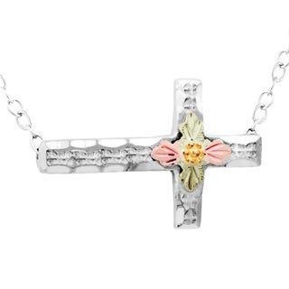 Black Hills Gold on Silver Horizontal Cross Necklace