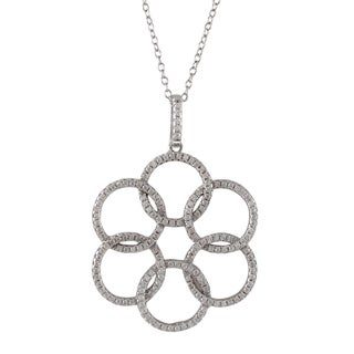 Luxiro Sterling Silver Cubic Zirconia Floral Circles Pendant Necklace