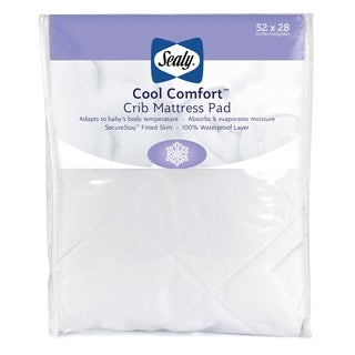 Sealy Cool Comfort Fitted Infant Toddler Crib Mattress Pad, Moisture Wicking and Waterproof - White