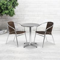 23.5'' Round Aluminum Indoor-Outdoor Table with 2 Rattan Chairs