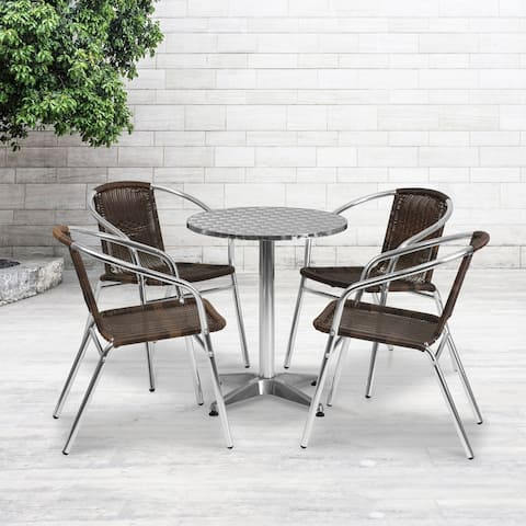 23.5'' Round Aluminum Indoor-Outdoor Table Set with 4 Rattan Chairs
