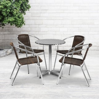 23.5-foot Round Aluminum Indoor/ Outdoor Table with 4 Rattan Chairs