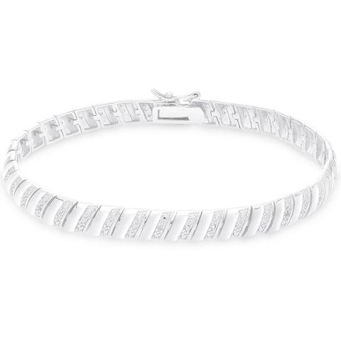 Finesque Sterling Silver 1/4CT TDW Diamond Stripe Bracelet