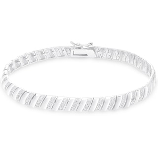 Finesque Sterling Silver 1/4CT TDW Diamond Stripe Bracelet (I-J, I2-I3)