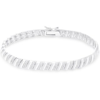 Finesque Sterling Silver 1/4CT TDW Diamond Stripe Bracelet