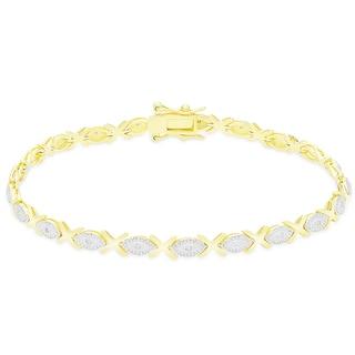 Finesque Sterling Silver 1/5CT TDW Diamond XO Link Bracelet (I-J, I2-I3)