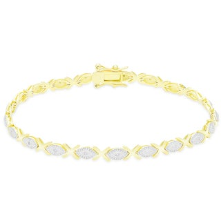 Finesque Sterling Silver 1/5CT TDW Diamond XO Link Bracelet
