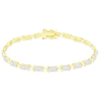 Finesque Sterling Silver 1/5CT TDW Diamond XO Link Bracelet