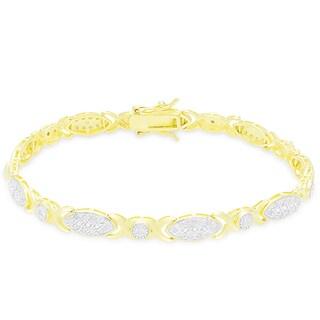 Finesque Sterling Silver 1CT TDW Diamond XO Design Bracelet