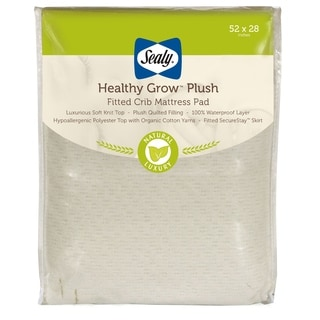Sealy Healthy Grow Plush Infant Toddler Fitted Crib Mattress Pad with Waterproof Layer
