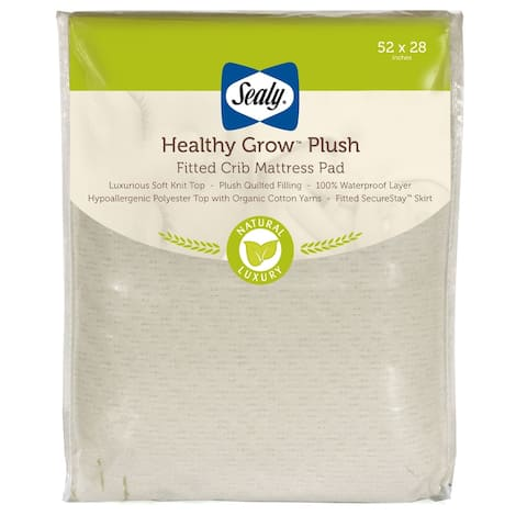 Sealy Healthy Grow Plush Fitted Crib Mattress Pad w/ Waterproof Layer - White