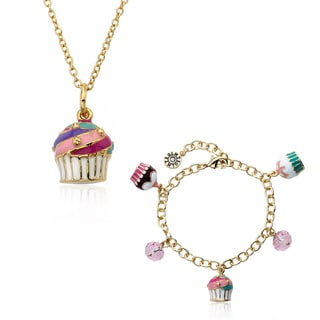 Super Cute 14k Goldplated Enamel Cupcake Necklace and Bracelet Set