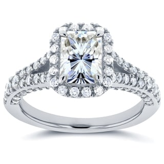 Annello By Kobelli 14k White Gold 1 7 8ct TGW Radiant Moissanite And Diamond Halo Split Shank Profile Accented Ring