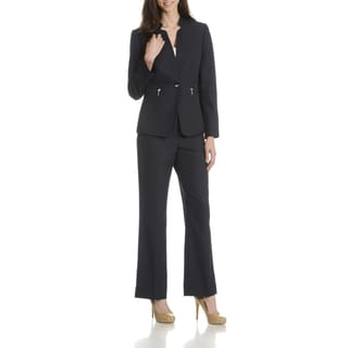 Tahari Arthur S. Levine Women's Black Inverted Collar 2-Piece Pant Suit